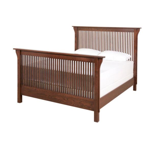 solid oak mission spindle bed