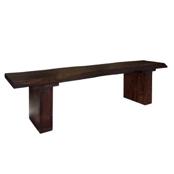 solid rustic maple wood live edge dining table bench