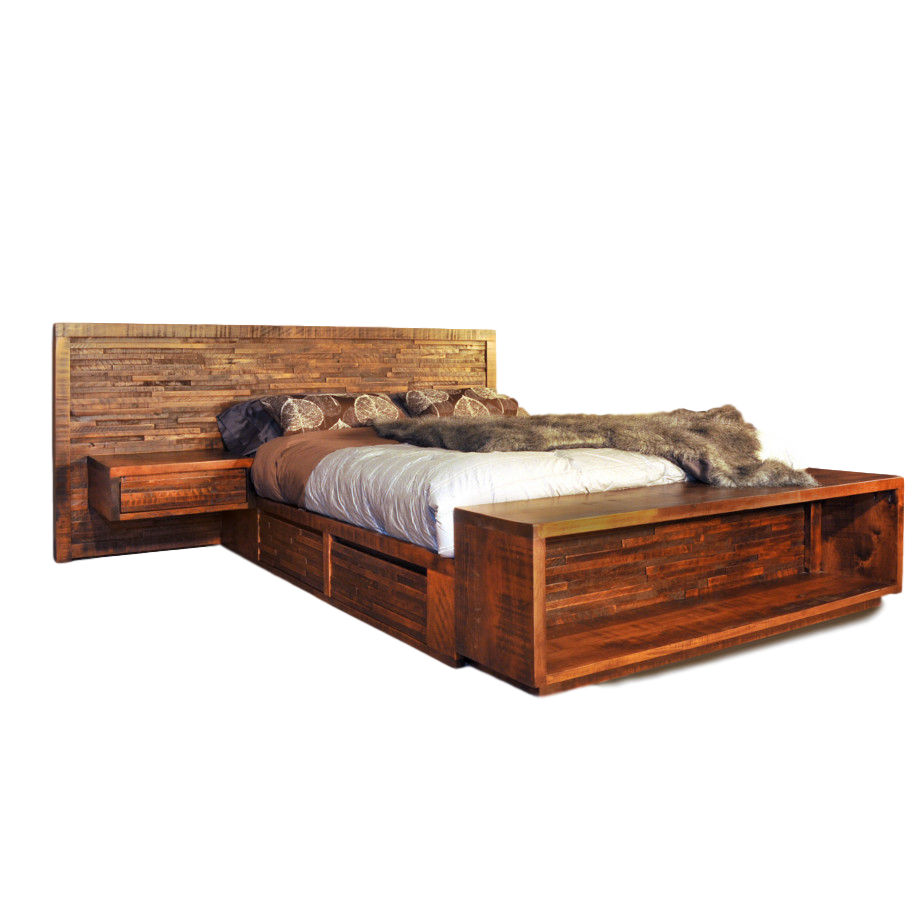 bedroom, bedroom furniture, custom, custom furniture, bed, solid wood, maple, rustic maple, rustic wood, amish design, ledgerock, unique, unique design, nightstand, storage ideas, storage bed