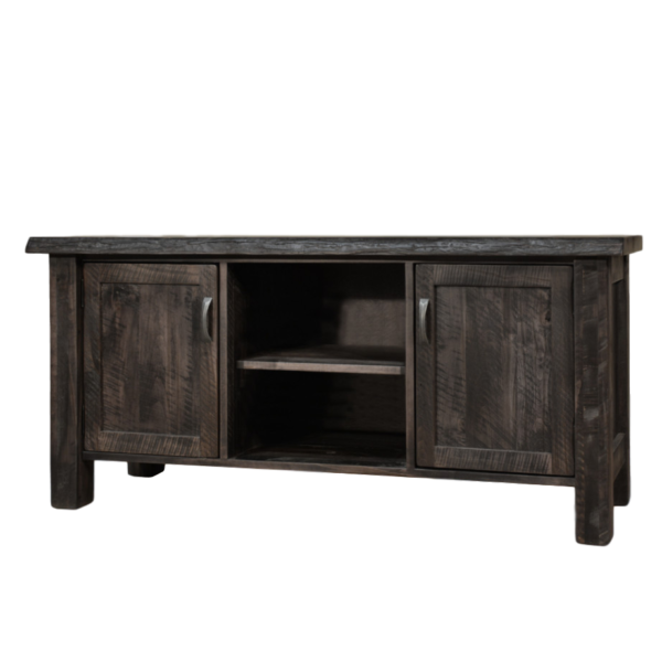 solid distressed wood live edge tv stand