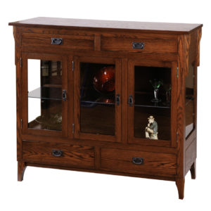 heirloom mission arts and crafts dining chest with glass display