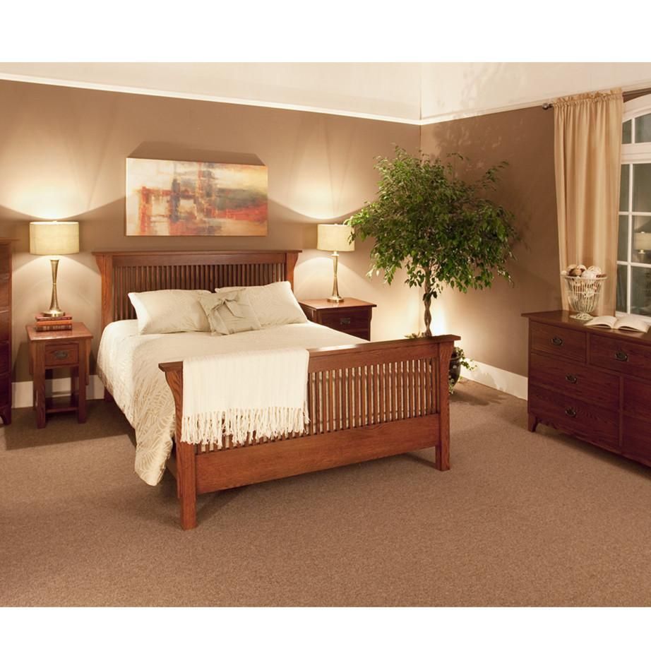 solid oak traditional amish mission heirloom bedroom display