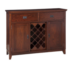 solid wood arts and crafts mission style small server with wine rack