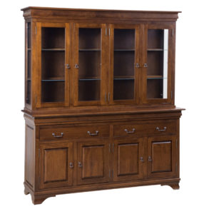 traditional amish style morgan buffet and hutch with glass doors