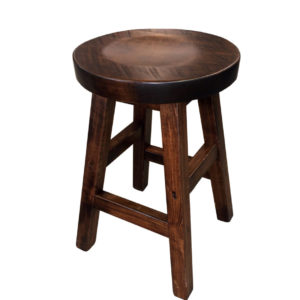 muskoka round stool, rustic wood stool, canadian made stool, solid wood stool, bar stool, counter stool