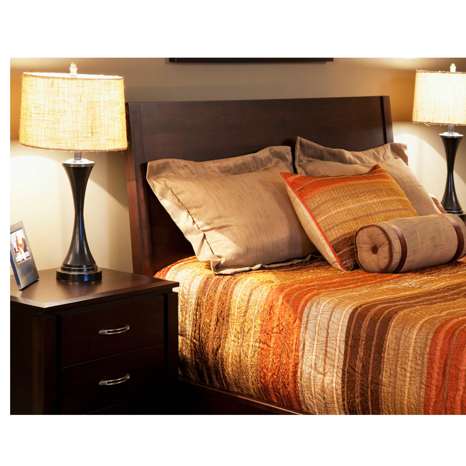solid dark wood newport bedroom in cozy room setting