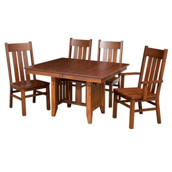 Poco Mission Trestle table, Dining room, dining room furniture, solid wood, solid oak, solid maple, custom, custom furniture, dining table, dining chair, made in Canada, Canadian made