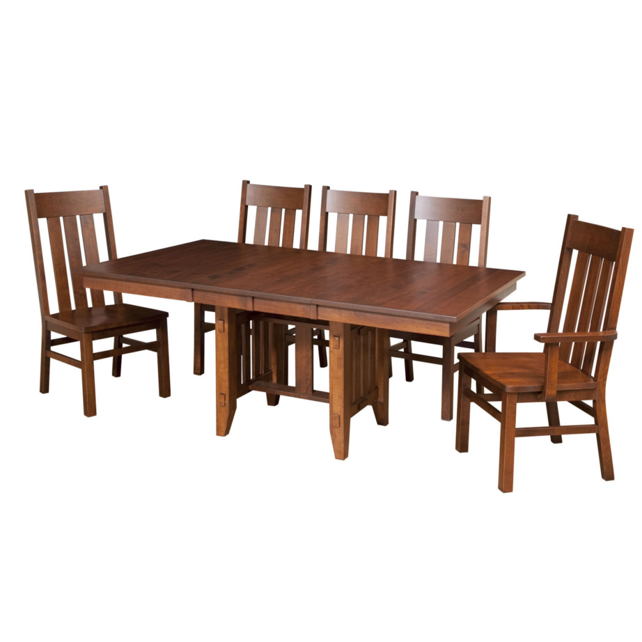 Poco mission trestle table home envy furnishings solid for Dining room tables trestle
