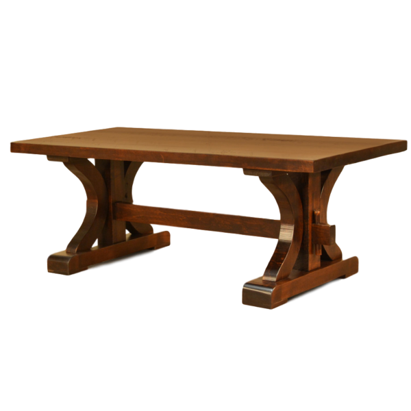 solid wood canadian made rustic carlisle coffee table with trestle base