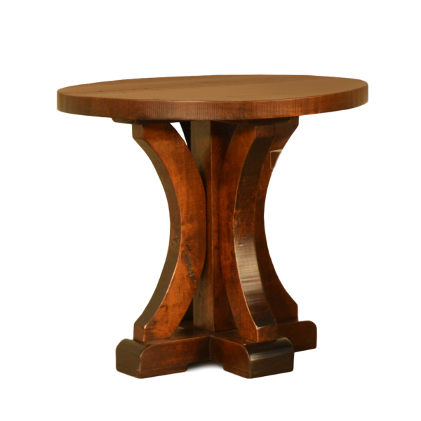 made in canada solid wood round rustic carlisle end table with pedestal base