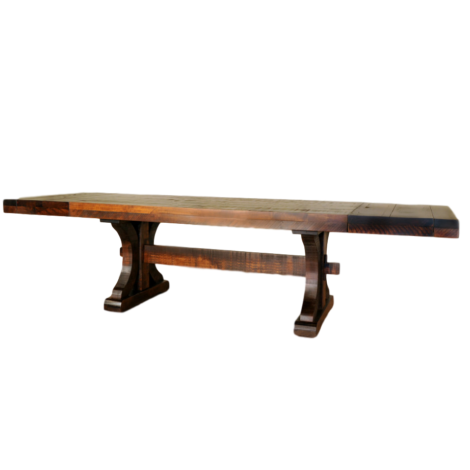 rustic carlisle trestle table, Dining room, table, dining table, solid wood, maple, rustic maple, made in Canada, pedestal, custom, custom furniture, rustic carlisle table