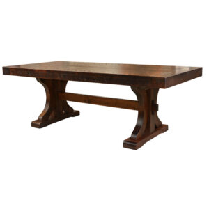 rustic carlisle trestle table, ruff sawn, rustic dining table, distress dining table, farmhouse table, made in canada table, solid wood table, rustic, urban, modern,