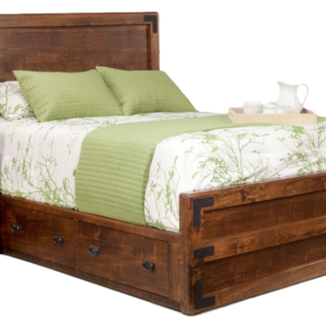 saratoga bed, bedroom, bedroom furniture, custom, custom furniture, bed, storage bed, storage ideas, small space, solid wood, maple, rustic maple, rustic wood, amish design, oak, cherry, saratoga low profile bed