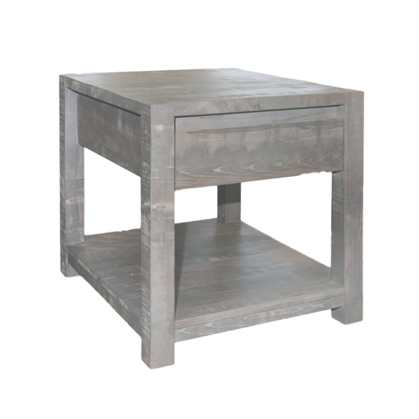 modern solid wood sequoia end table with hidden storage drawer