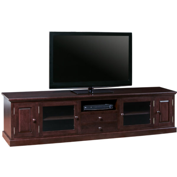 extra wide shaker tv console with doors and drawers