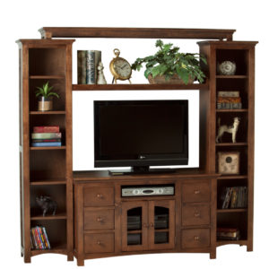 Shaker Arched wall unit, wall unit, wall unit with storage TV unit, solid wood , made in canada, choose your wood, solid wood furniture, display wall unit