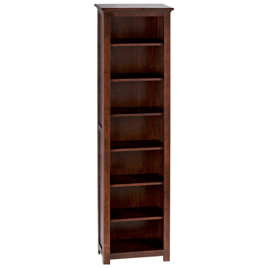 shaker solid wood bookcase in custom narrow size