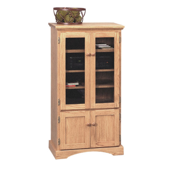 solid wood shaker media stand for stereo system components