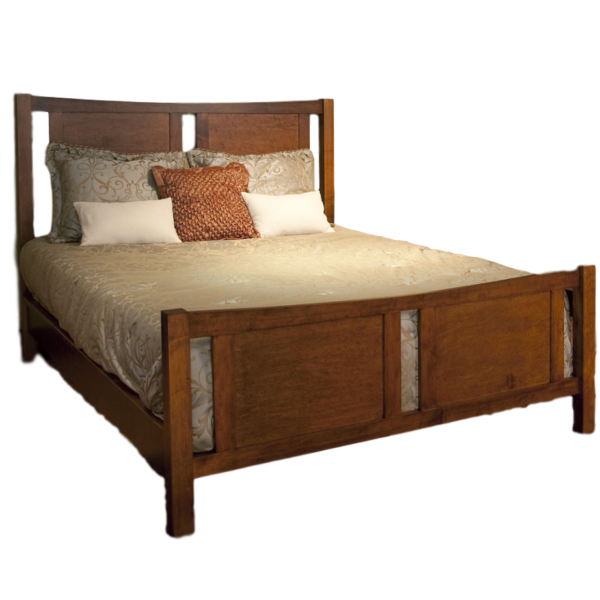 solid wood soho panel bed with footboard