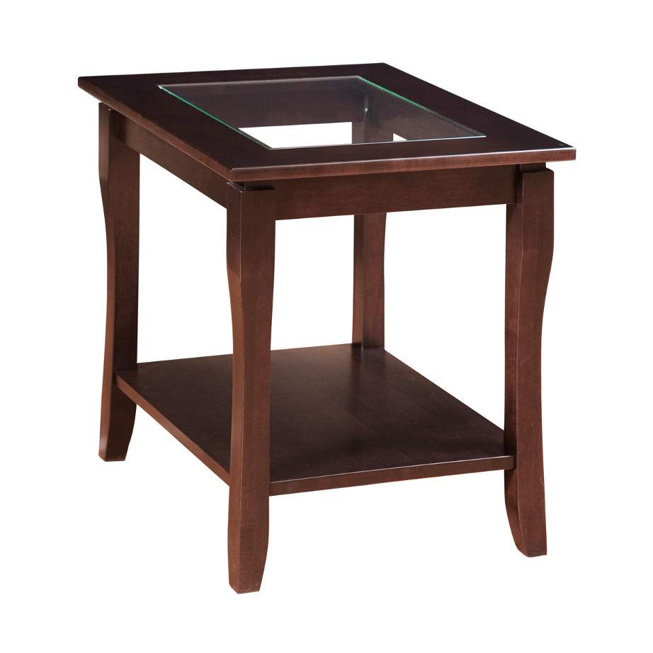 glass top solid wood frame soho end table
