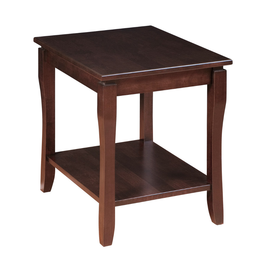 solid wood canadian made soho end table with shelf