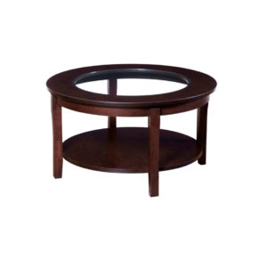 canadian made round soho coffee table with glass insert top