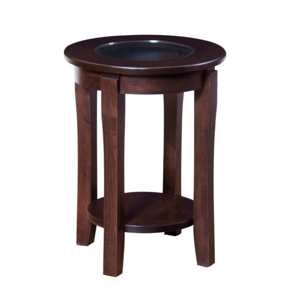 Soho End Table with Glass Top, Soho Round End Table Glass, living room, living room furniture, occasional, occasional furniture, solid wood, solid oak, solid maple, custom, custom furniture, storage, storage ideas, end table