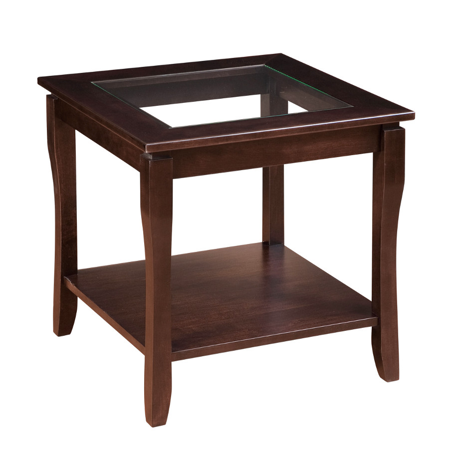 Soho End Table With Glass Top Home Envy Furnishings Solid Wood Furniture Store