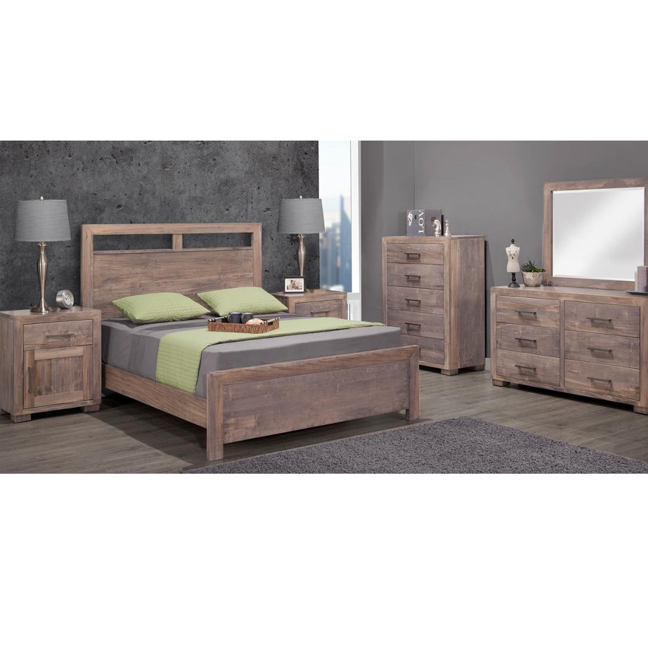 solid rustic wood steel city bedroom suite in modern bedroom