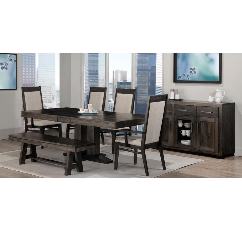 solid rustic wood steel city dining room suite with chairs bench and buffet