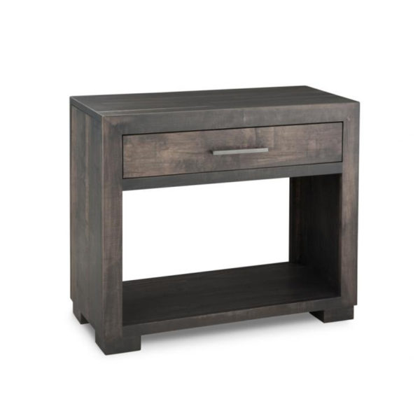 solid rustic wood steel city sofa table with drawer