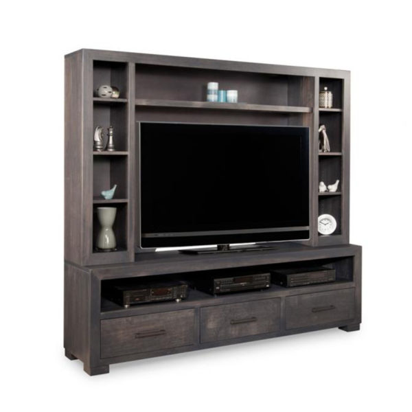solid rustic wood steel city wall unit in custom size
