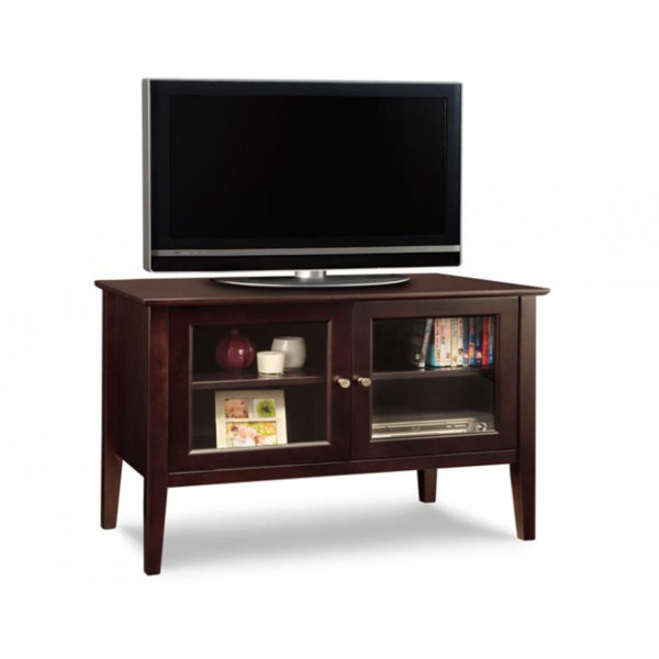 glass doors with shelves on the stockholm small tv console