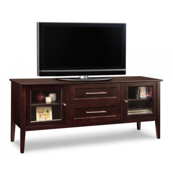 modern solid wood stockholm tv console with glass doors
