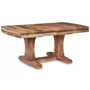 amish made solid wood stockholm tresle table with leaf extension options