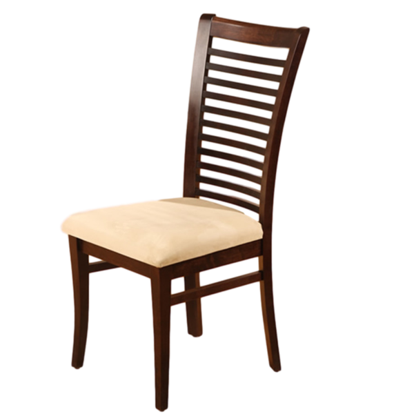 canadian made ladderback style tamarisk dining chair with upholstered seat