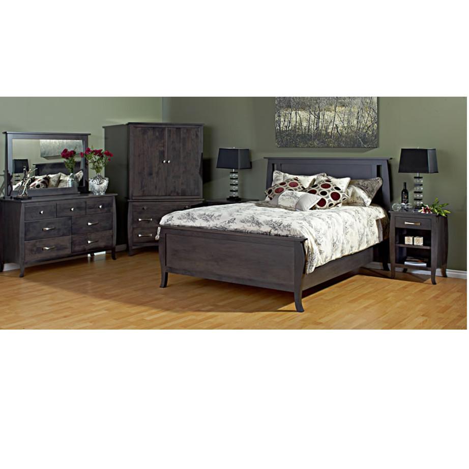 solid wood metro bedroom suite shown as complete suite