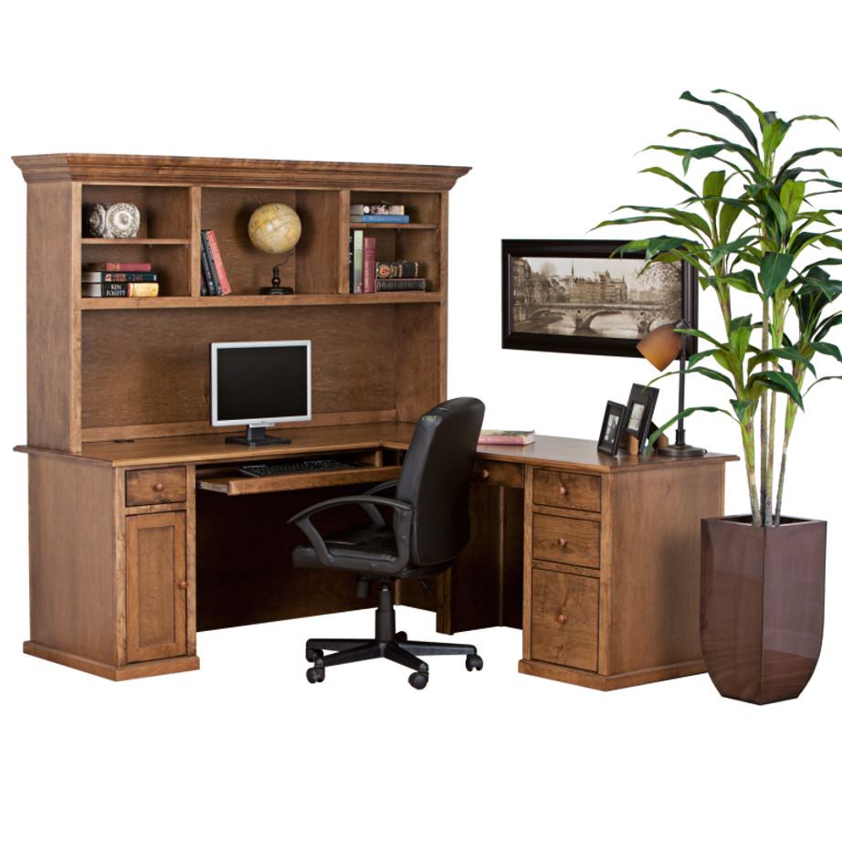 Traditional Workstation, workstation, Work desk , Tall work desk, work desk with storage, wooden furniture, made in canada, workstation