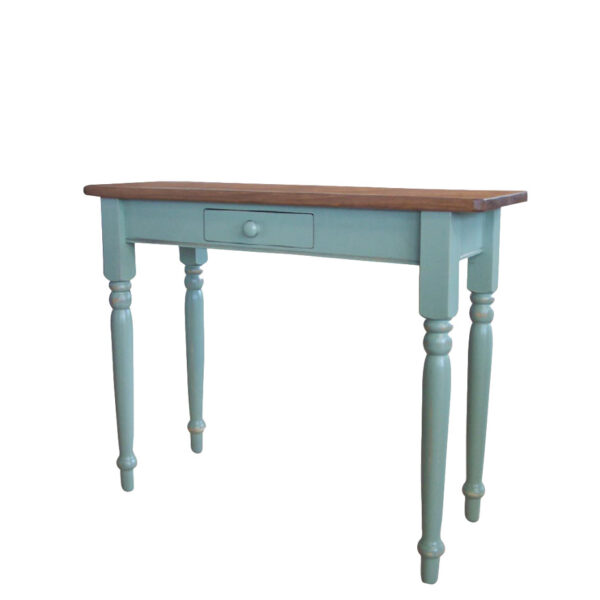 country farmhouse furniture design the true north sofa table is hand crafted in Canada and shown in two tone finish