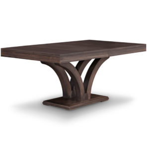 solid rustic wood verona table with modern pedestal base