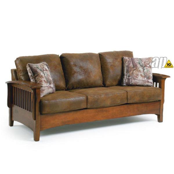 westney mission sofa, craftsman sofa, amish sofa, stickler sofa, wood frame sofa, best home furnishings, living room, living room furniture, furniture, upholstery, upholstered, custom, custom built, custom furniture, sofa table, sofa, solid wood, wooden arms