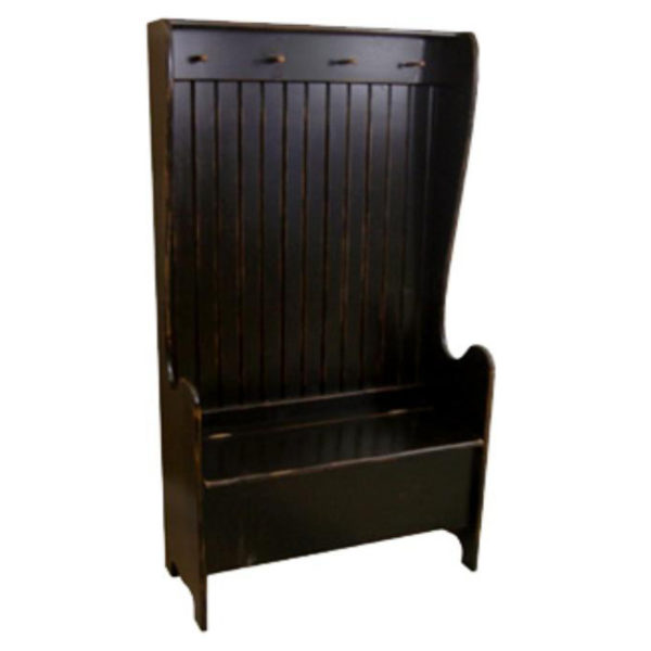 Williamsburg Bench, furniture, pine, storage ideas, storage, solid wood, made in Canada, Canadian made, rustic, rustic look, shelves, paint, display, organizer, organize, organization, entry, entryway, mudroom, foyer, hook, hooks, bench, entry bench, hall tree