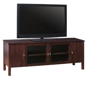 modern maple wood yaletown tv console with glass doors
