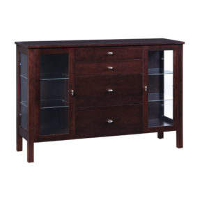 solid modern maple wood yaletown display sideboard with glass doors