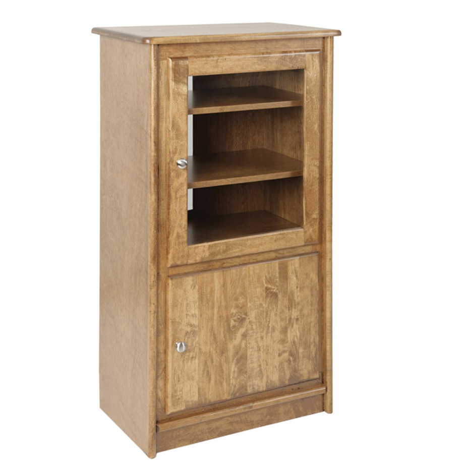 solid wood canadian made galiano stereo stand with doors and glass