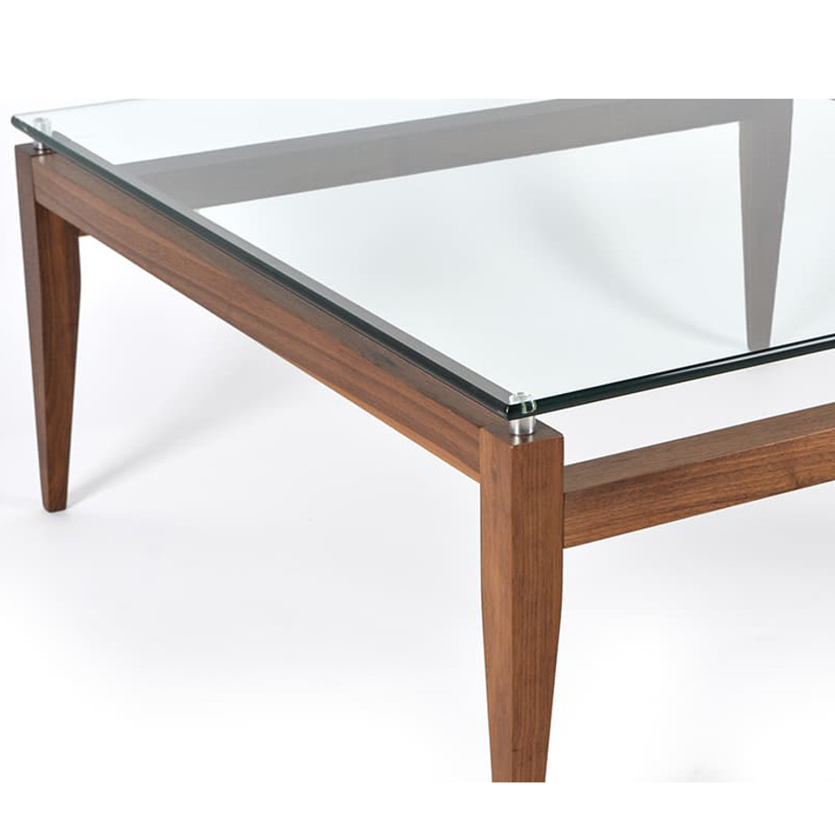solid wood and glass detail on the alex coffee table