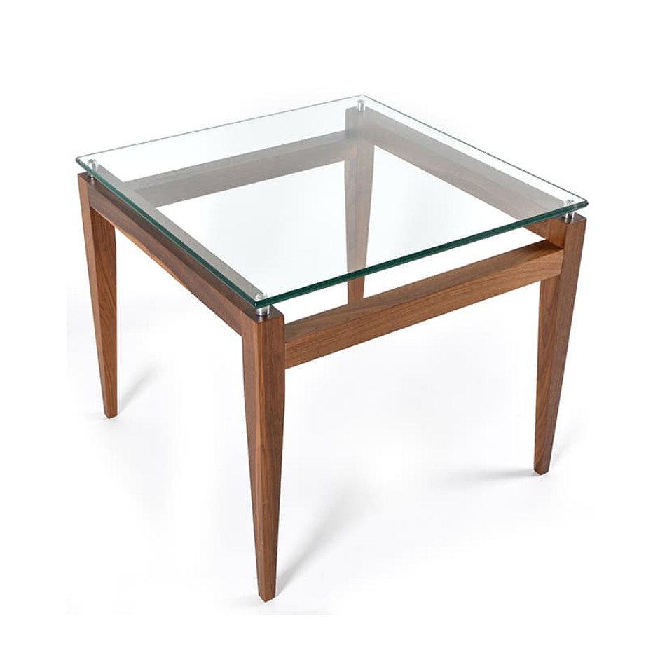 modern solid wood square alex end table with glass top