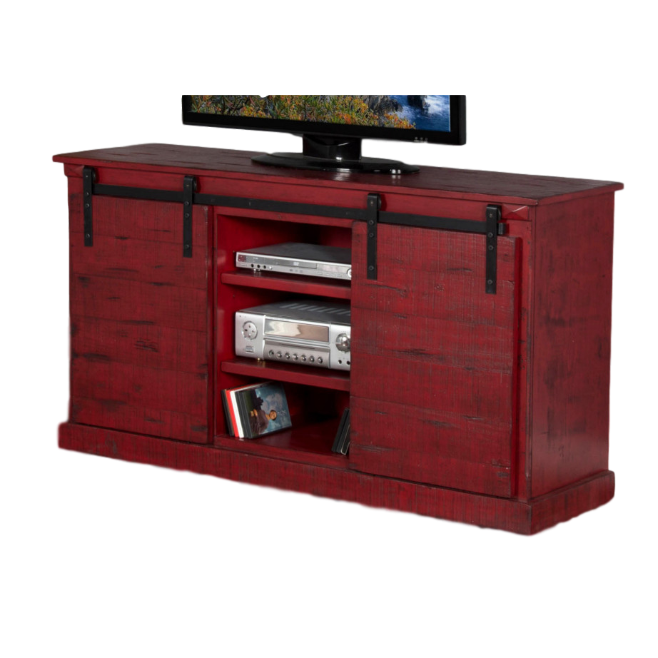 Barn Door Console Burnt Red Home Envy Furnishings Solid