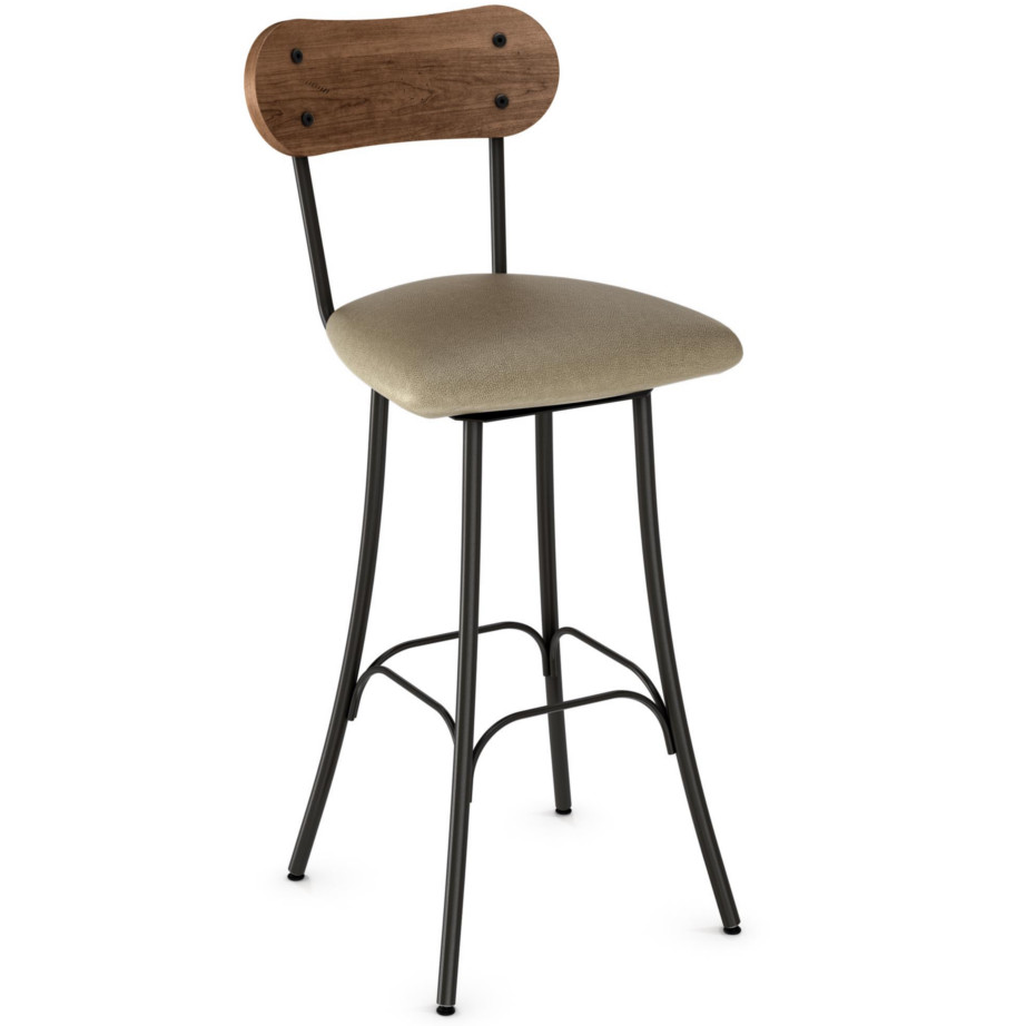custom stool, metal, iron, steel, fabric, leather, distressed wood, solid birch, traditional, modern, urban, rustic, bar, pub, counter, island, kitchen, amiss, made in canada, bean stool