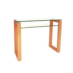 modern wood frame bill sofa table with glass top